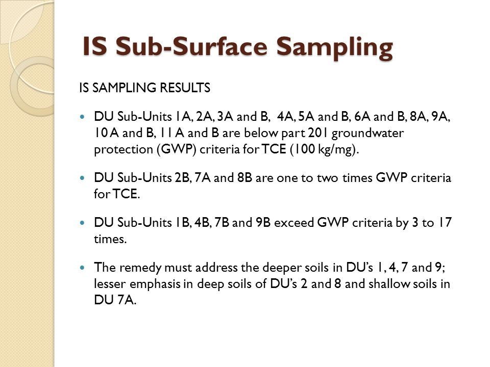IS SAMPLING RESULTS DU Sub-Units 1A, 2A, 3A and B, 4A, 5A and B, 6A and B, 8A, 9A, 10 A and B, 11 A and B are below part 201 groundwater protection (G