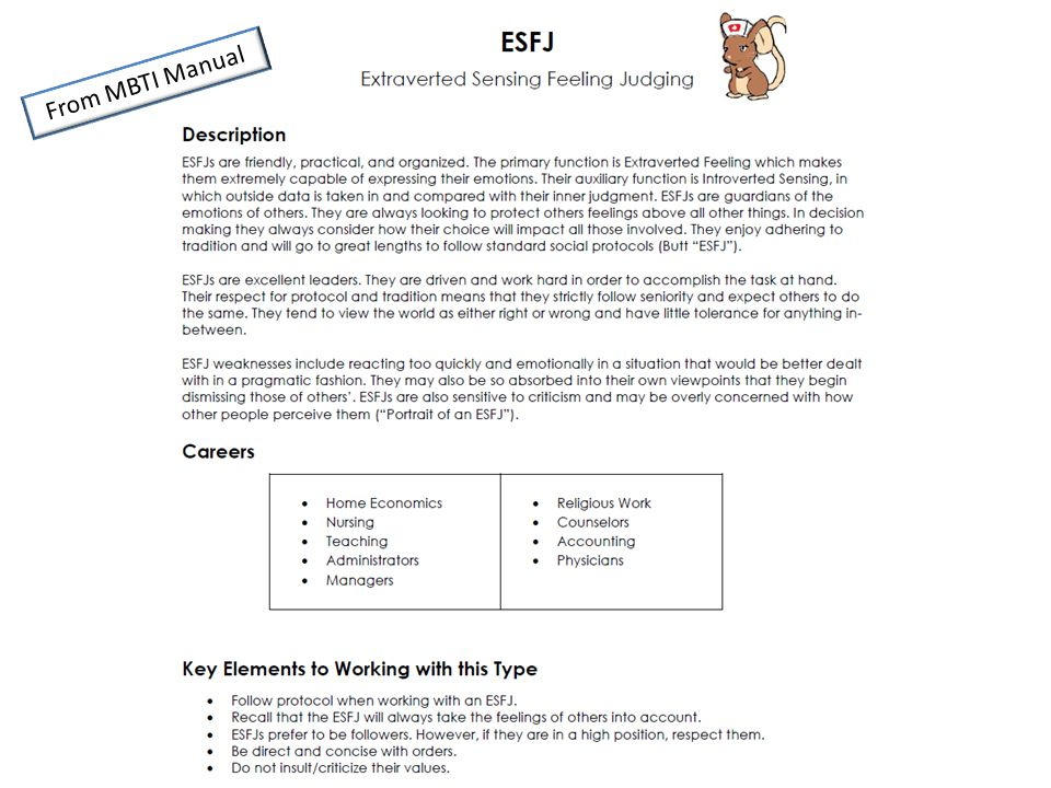 From MBTI Manual