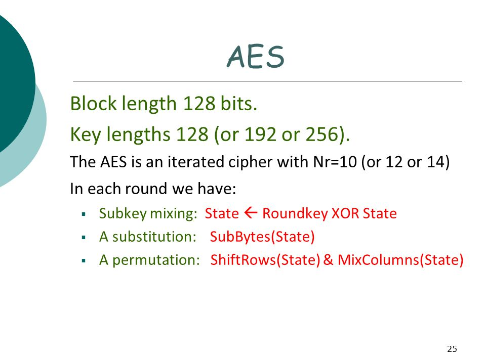 25 AES Block length 128 bits. Key lengths 128 (or 192 or 256).