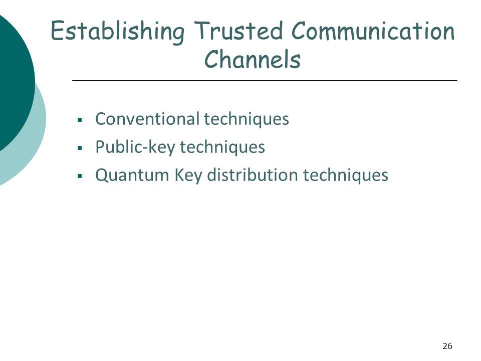 26 Establishing Trusted Communication Channels  Conventional techniques  Public-key techniques  Quantum Key distribution techniques