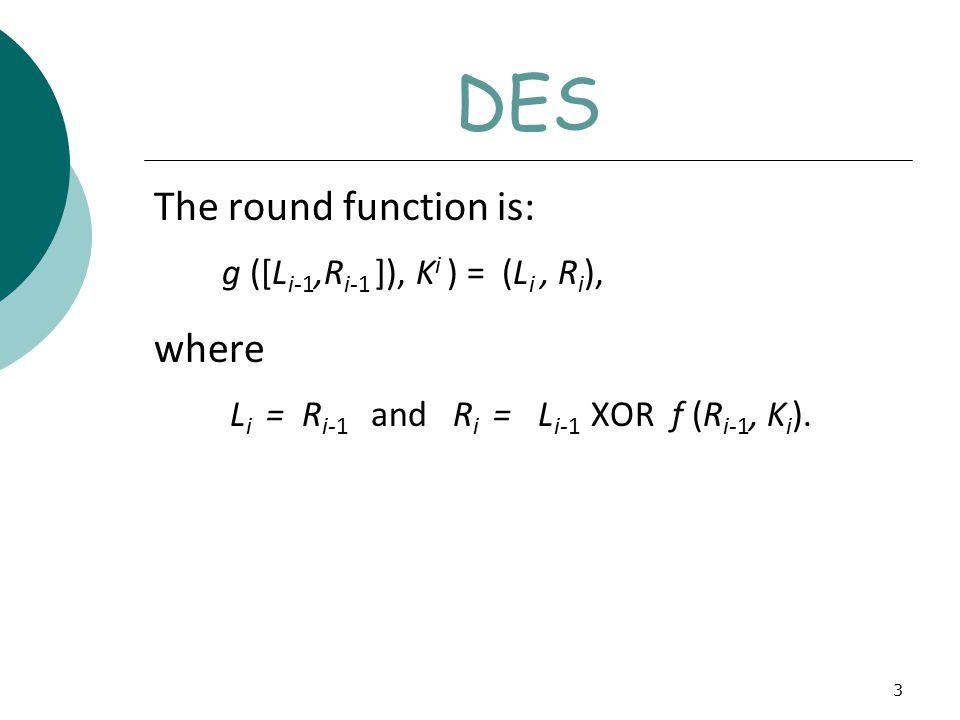 3 DES The round function is: g ([L i-1,R i-1 ]), K i ) = (L i, R i ), where L i = R i-1 and R i = L i-1 XOR f (R i-1, K i ).