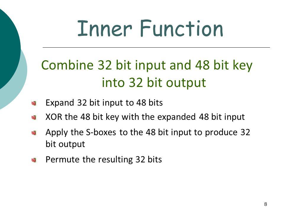 8 Combine 32 bit input and 48 bit key into 32 bit output Expand 32 bit input to 48 bits XOR the 48 bit key with the expanded 48 bit input Apply the S-boxes to the 48 bit input to produce 32 bit output Permute the resulting 32 bits