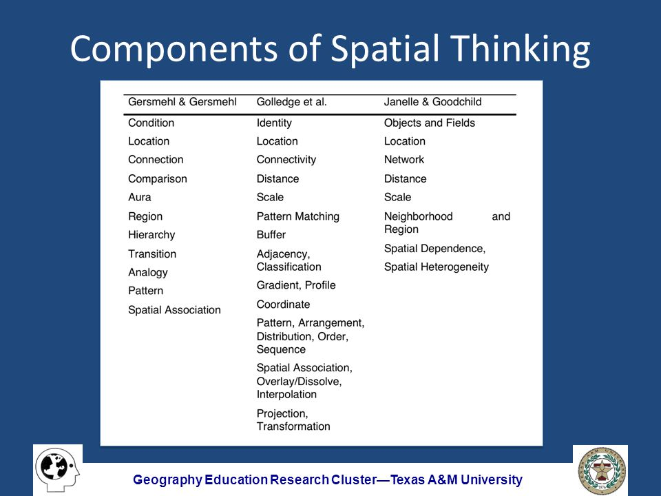 Geography Education Research Cluster—Texas A&M University Components of Spatial Thinking