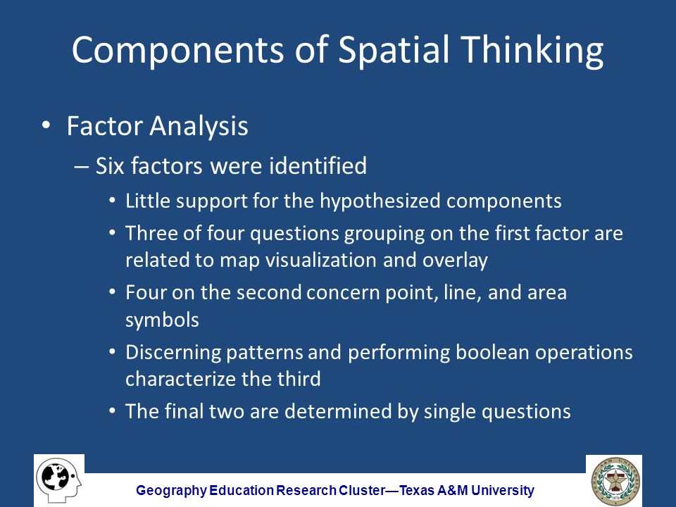 Geography Education Research Cluster—Texas A&M University Components of Spatial Thinking Factor Analysis – Six factors were identified Little support for the hypothesized components Three of four questions grouping on the first factor are related to map visualization and overlay Four on the second concern point, line, and area symbols Discerning patterns and performing boolean operations characterize the third The final two are determined by single questions