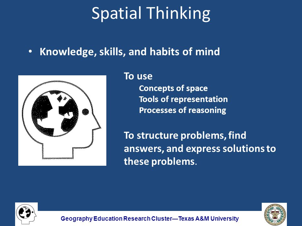 Geography Education Research Cluster—Texas A&M University Spatial Thinking Knowledge, skills, and habits of mind To use Concepts of space Tools of representation Processes of reasoning To structure problems, find answers, and express solutions to these problems.