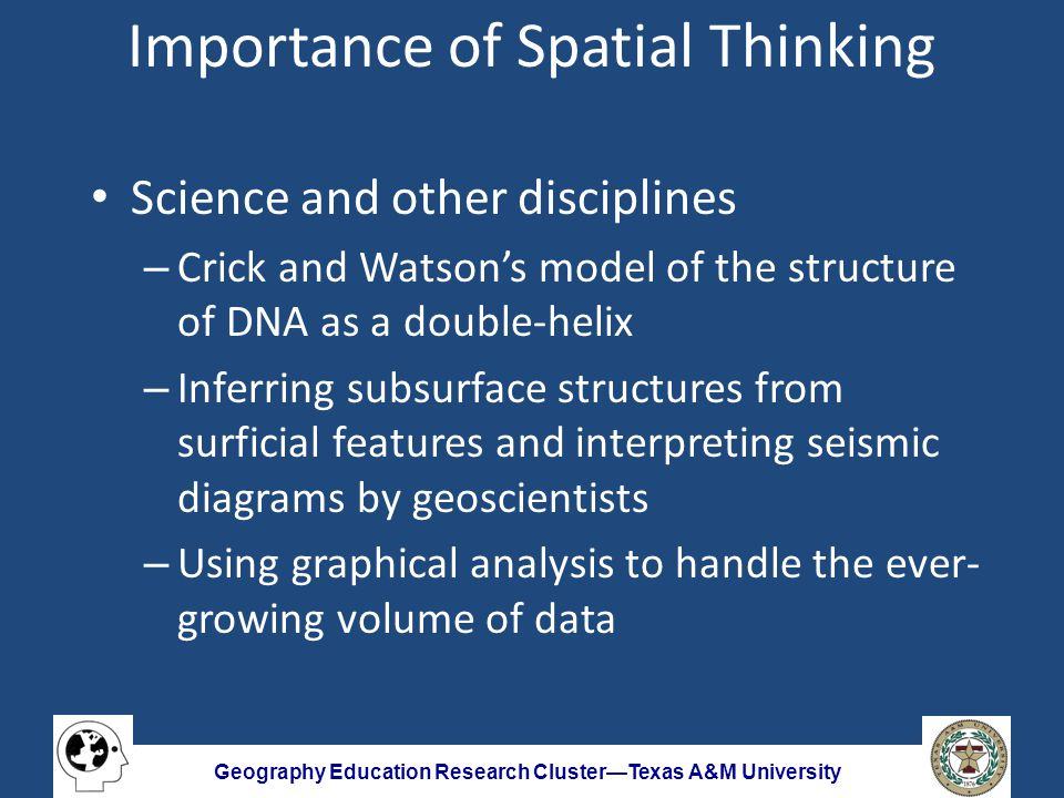 Geography Education Research Cluster—Texas A&M University Outline What is spatial thinking.