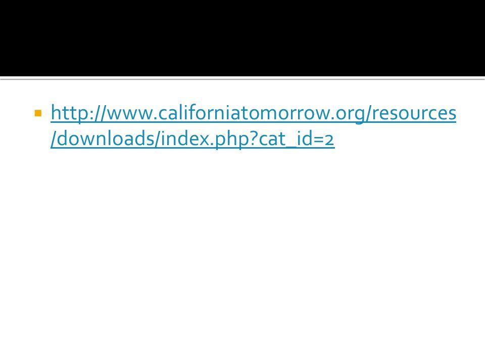  http://www.californiatomorrow.org/resources /downloads/index.php cat_id=2 http://www.californiatomorrow.org/resources /downloads/index.php cat_id=2