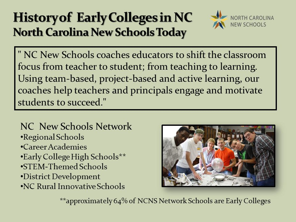 NC New Schools coaches educators to shift the classroom focus from teacher to student; from teaching to learning.