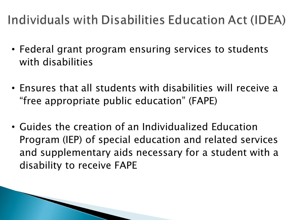 "Federal grant program ensuring services to students with disabilities Ensures that all students with disabilities will receive a ""free appropriate pub"