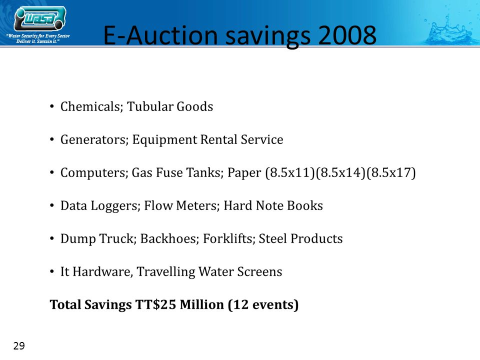 Water Security for Every Sector Deliver it. Sustain it. 29 E-Auction savings 2008