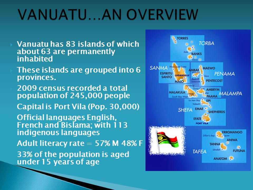  Vanuatu has 83 islands of which about 63 are permanently inhabited  These islands are grouped into 6 provinces.