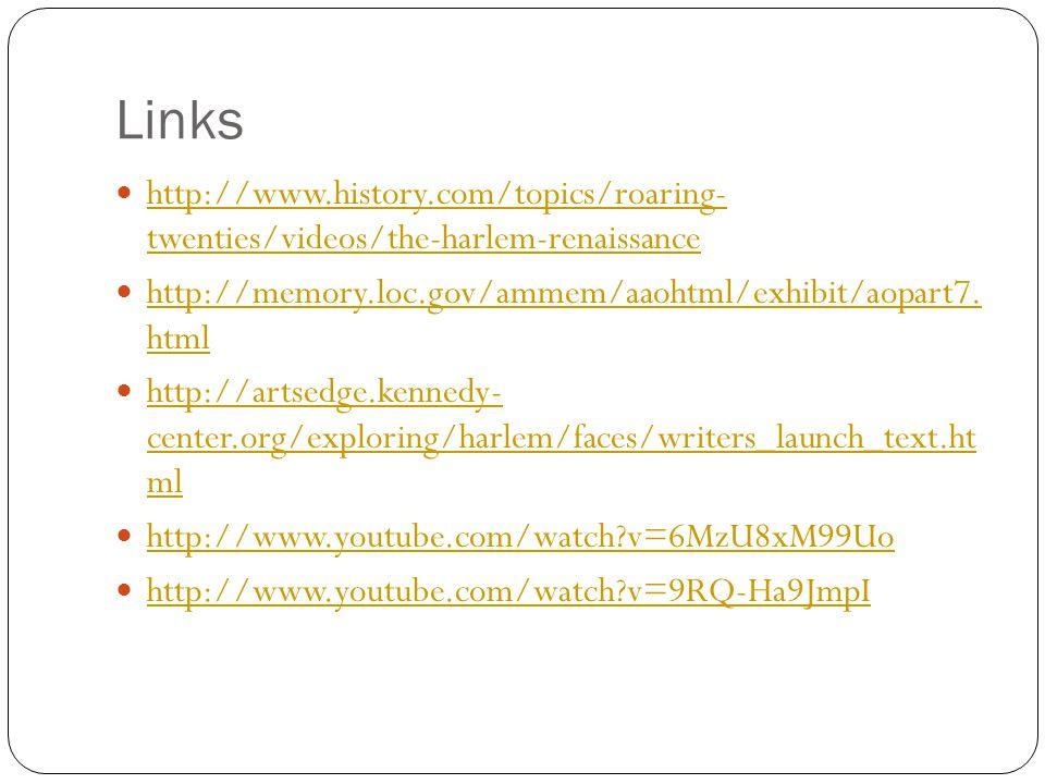 Links http://www.history.com/topics/roaring- twenties/videos/the-harlem-renaissance http://www.history.com/topics/roaring- twenties/videos/the-harlem-