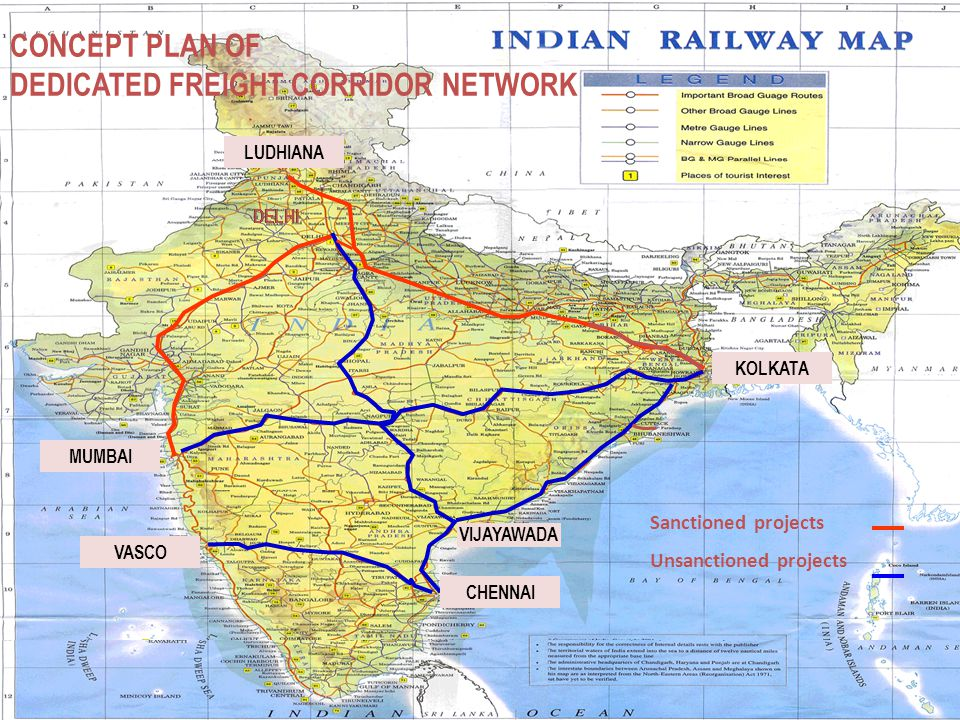 13 CONCEPT PLAN OF DEDICATED FREIGHT CORRIDOR NETWORK MUMBAI DELHI CHENNAI KOLKATA LUDHIANA VIJAYAWADA Sanctioned projects Unsanctioned projects VASCO DELHI LUDHIANA MUMBAI DELHI