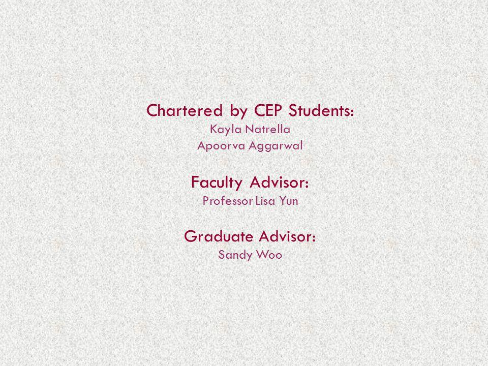Chartered by CEP Students: Kayla Natrella Apoorva Aggarwal Faculty Advisor: Professor Lisa Yun Graduate Advisor: Sandy Woo