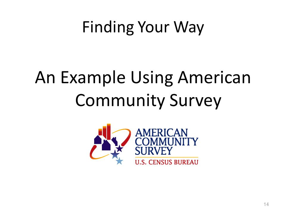 Finding Your Way An Example Using American Community Survey 14