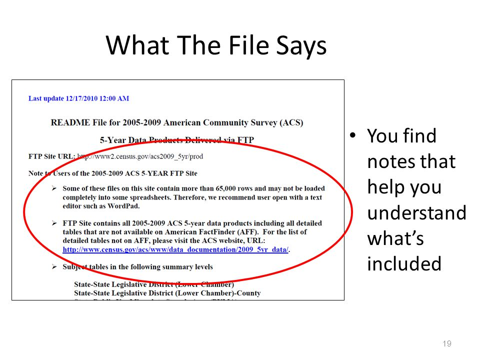 What The File Says You find notes that help you understand what's included 19