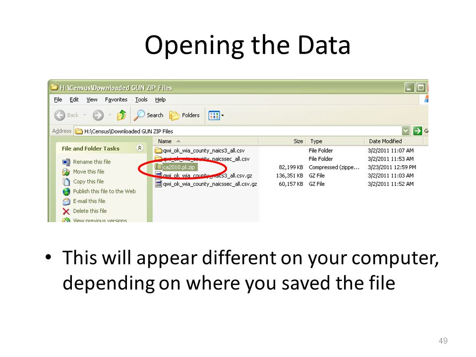 Opening the Data This will appear different on your computer, depending on where you saved the file 49