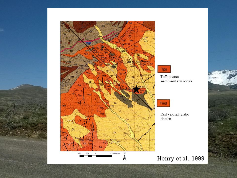 Tuffaceous sedimentary rocks Early porphyritic dacite Henry et al., 1999
