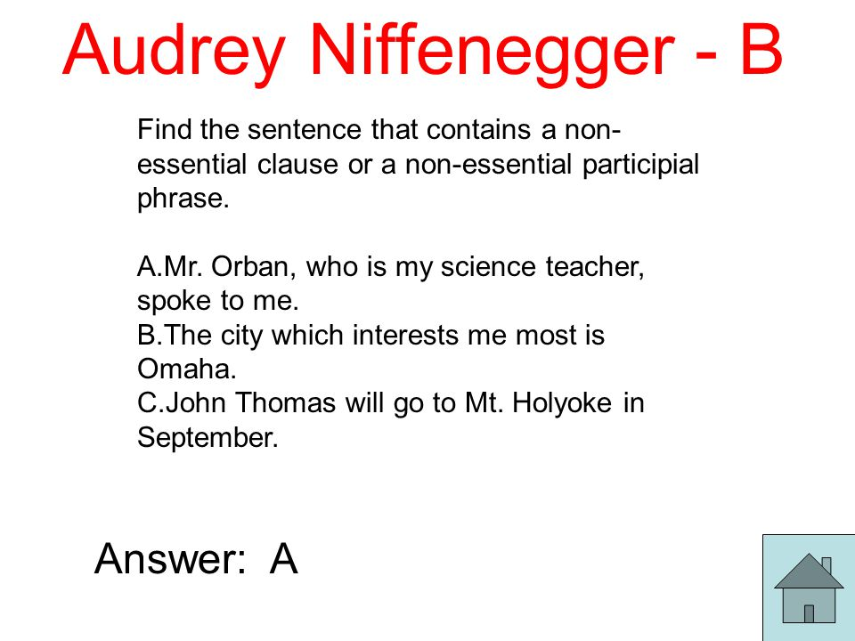 Audrey Niffenegger - B Find the sentence that contains a non- essential clause or a non-essential participial phrase.
