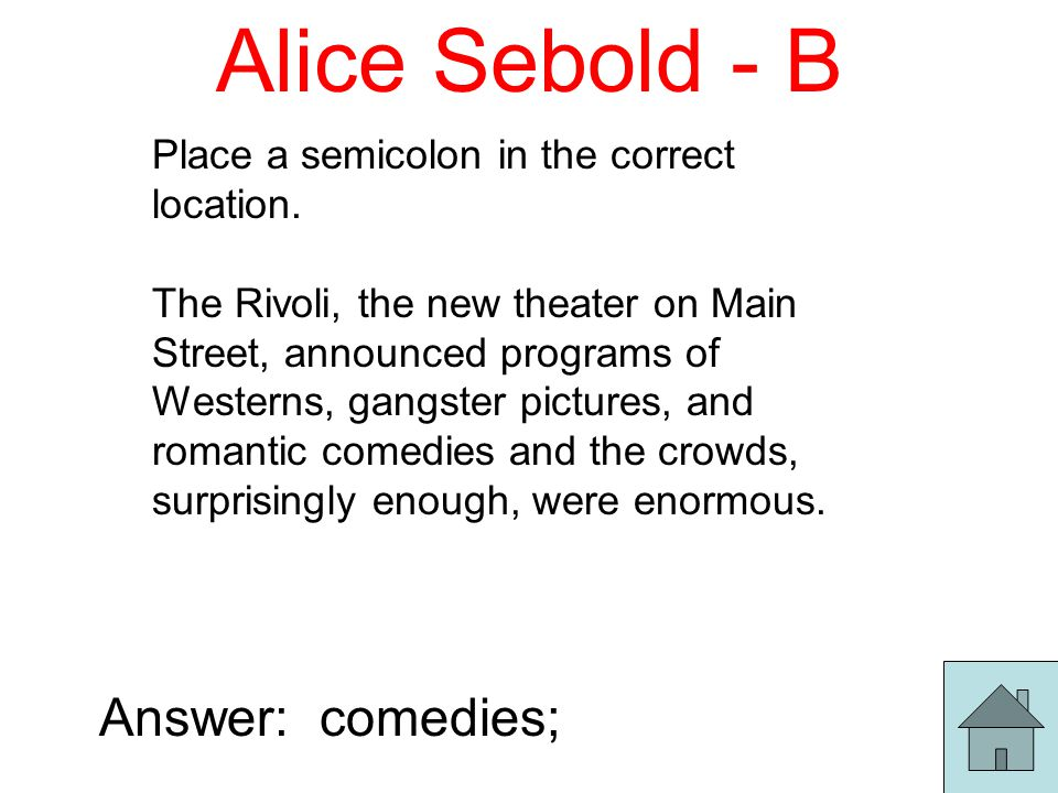 Alice Sebold - B Place a semicolon in the correct location.