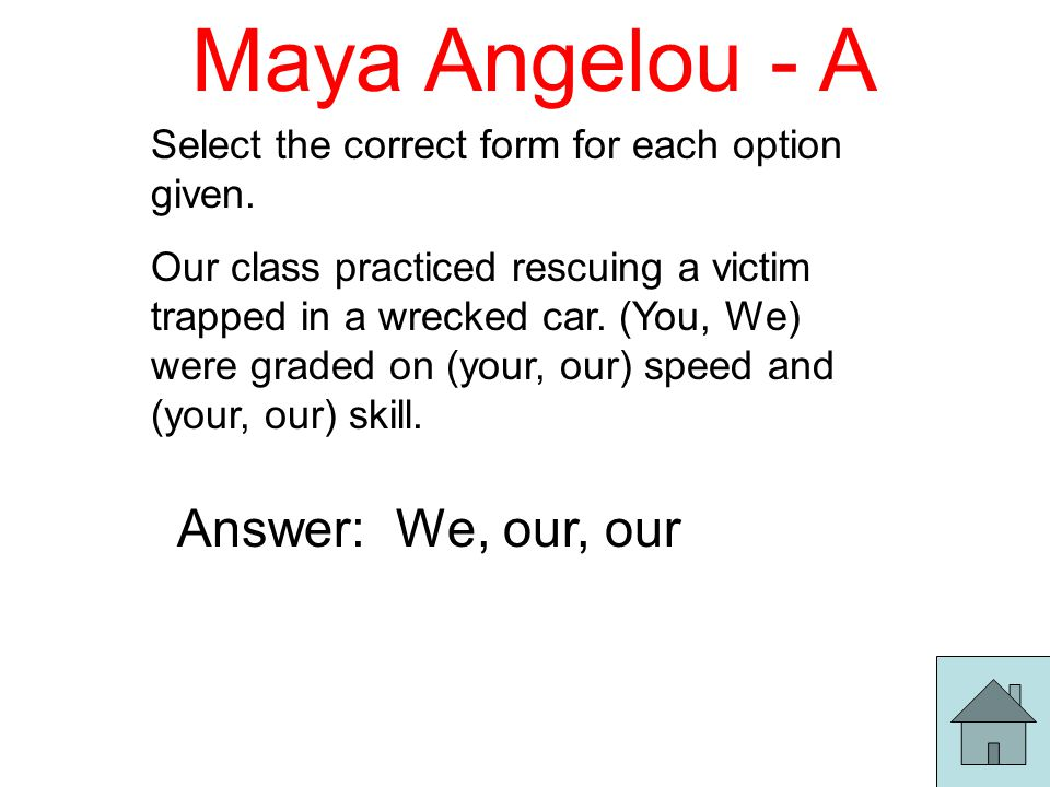 Maya Angelou - A Select the correct form for each option given.