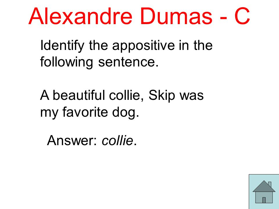 Alexandre Dumas - C Identify the appositive in the following sentence.