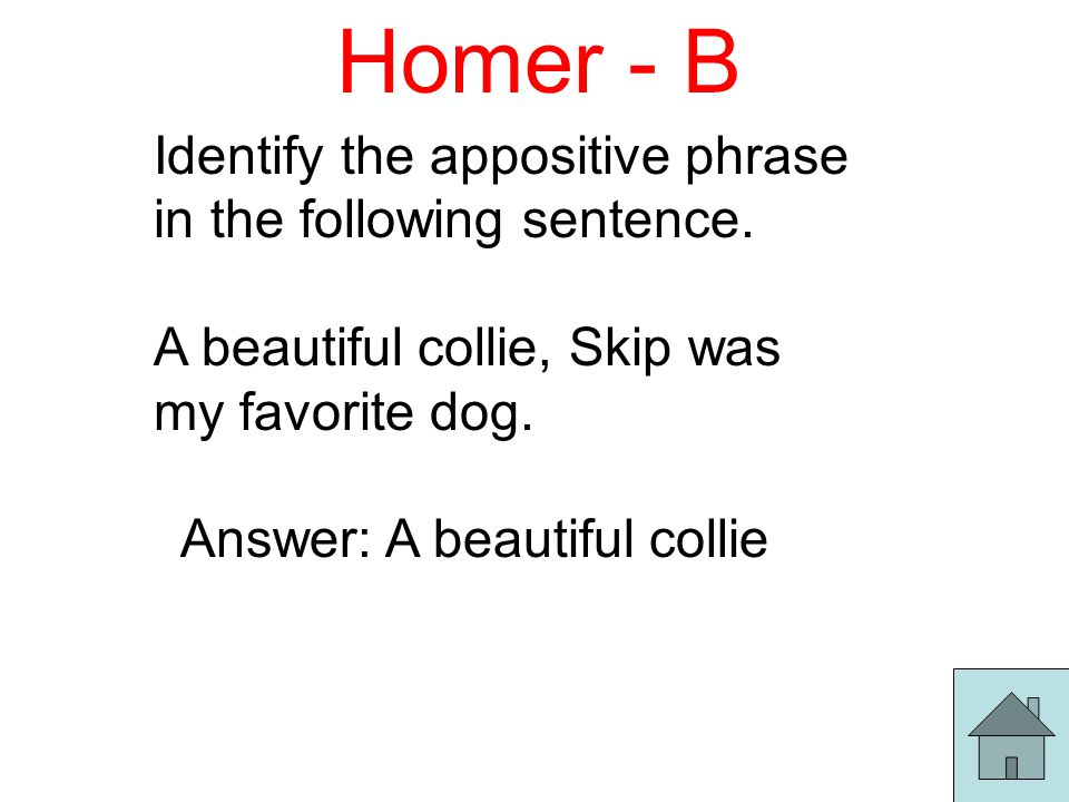 Homer - B Identify the appositive phrase in the following sentence.
