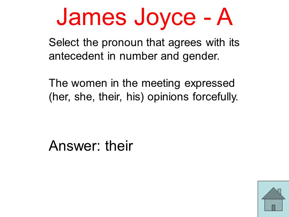 James Joyce - A Select the pronoun that agrees with its antecedent in number and gender.