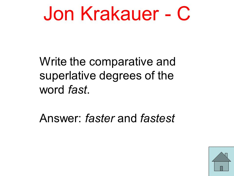 Jon Krakauer - C Write the comparative and superlative degrees of the word fast.