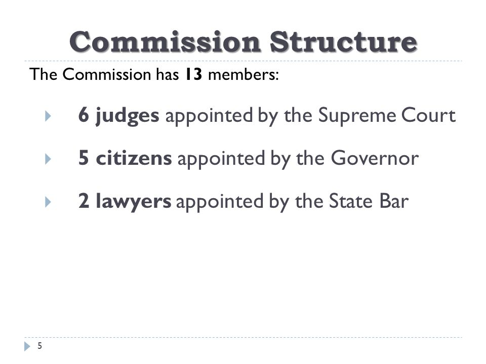 Commission Structure  Six-year staggered terms  Voluntary, unpaid service  Appointments are confirmed by the Texas Senate 6