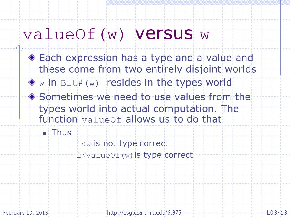 valueOf(w) versus w Each expression has a type and a value and these come from two entirely disjoint worlds w in Bit#(w) resides in the types world So