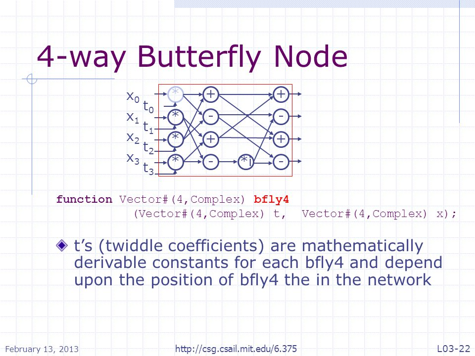 4-way Butterfly Node function Vector#(4,Complex) bfly4 (Vector#(4,Complex) t, Vector#(4,Complex) x); t's (twiddle coefficients) are mathematically der