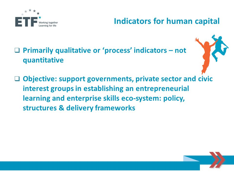 Indicators for human capital  Primarily qualitative or 'process' indicators – not quantitative  Objective: support governments, private sector and c