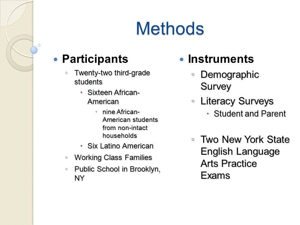 Methods Participants ◦ Twenty-two third-grade students  Sixteen African- American  nine African- American students from non-intact households  Six Latino American ◦ Working Class Families ◦ Public School in Brooklyn, NY Instruments ◦ Demographic Survey ◦ Literacy Surveys  Student and Parent ◦ Two New York State English Language Arts Practice Exams