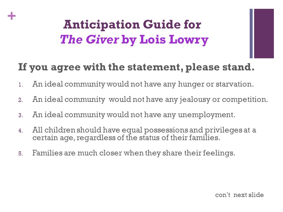 + Anticipation Guide for The Giver by Lois Lowry If you agree with the statement, please stand. 1. An ideal community would not have any hunger or sta
