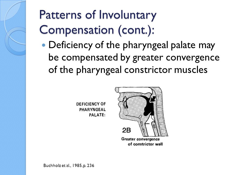 Patterns of Involuntary Compensation (cont.): Deficiency of the constrictor muscles may be compensated by exaggerated upward and posteriorward displacement of the tongue and larynx.