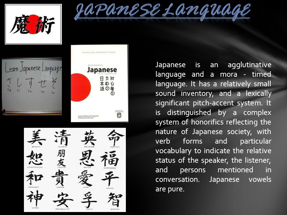 Japanese is an agglutinative language and a mora - timed language. It has a relatively small sound inventory, and a lexically significant pitch-accent