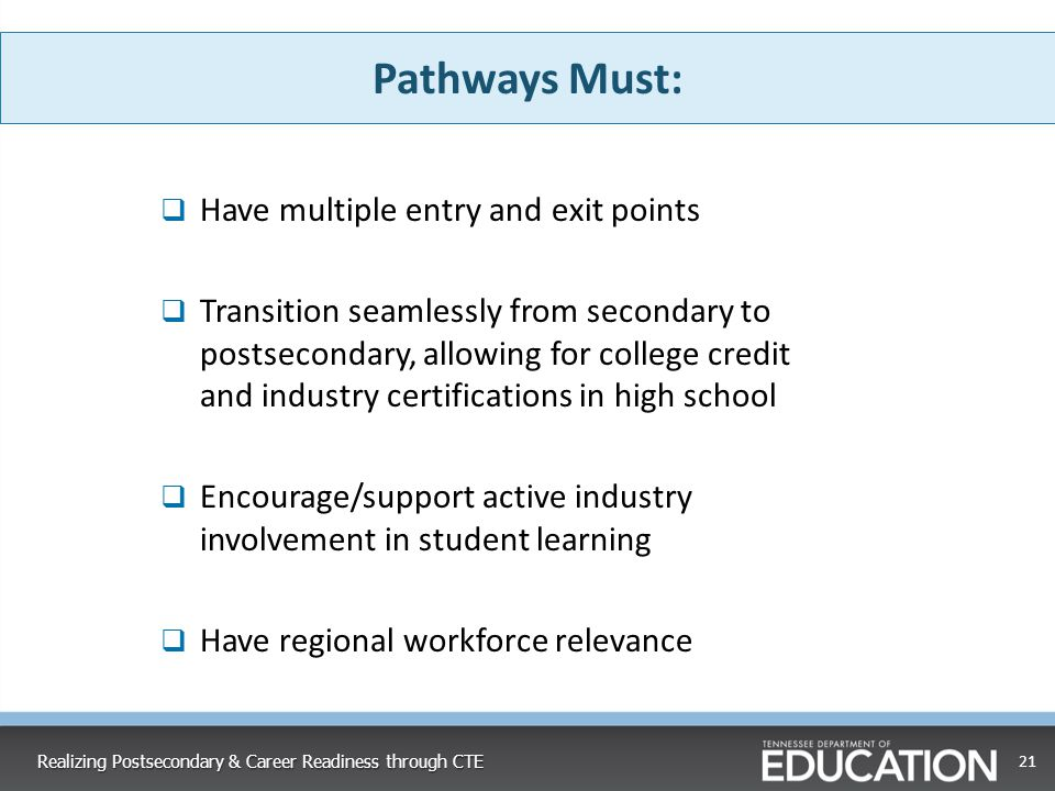 21 Realizing Postsecondary & Career Readiness through CTE Pathways Must:  Have multiple entry and exit points  Transition seamlessly from secondary