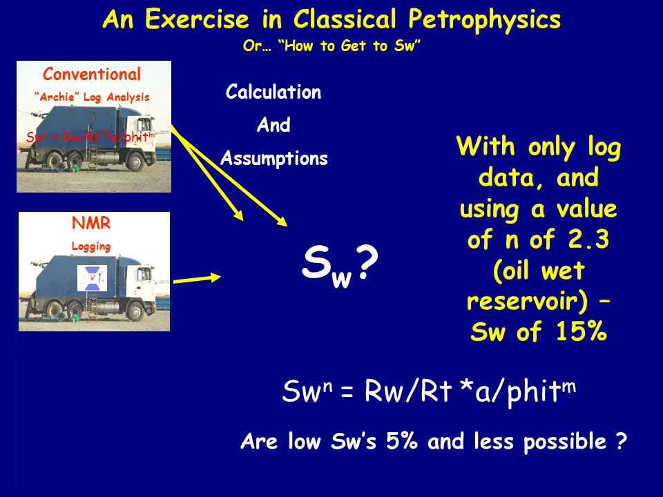 """Conventional """"Archie"""" Log Analysis Calculation And Assumptions SwSw An Exercise in Classical Petrophysics Or… """"How to Get to Sw"""" Direct Measurement S"""