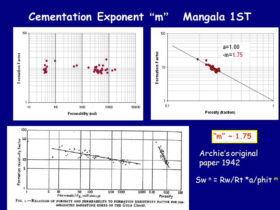 "Cementation Exponent "" m "" Mangala 1ST ""m"" ~ 1.75 Archie's original paper 1942 Sw n = Rw/Rt *a/phit m"