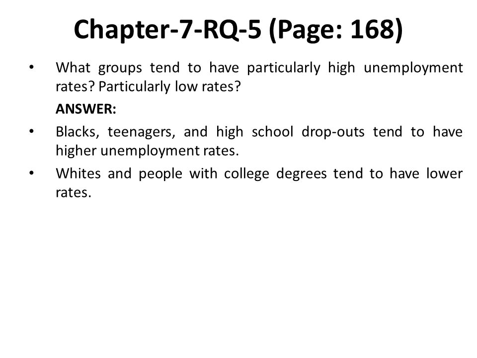 Chapter-7-RQ-5 (Page: 168) What groups tend to have particularly high unemployment rates.