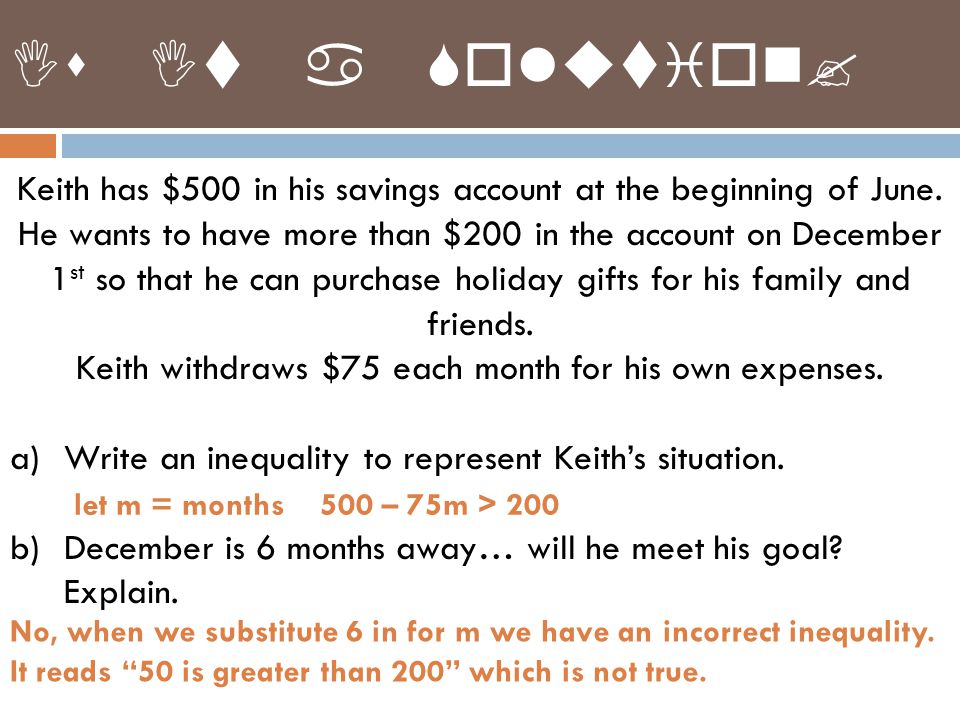 Keith has $500 in his savings account at the beginning of June.