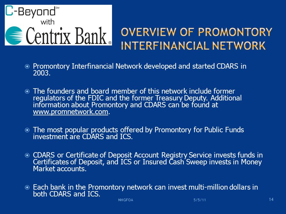  Promontory Interfinancial Network developed and started CDARS in 2003.