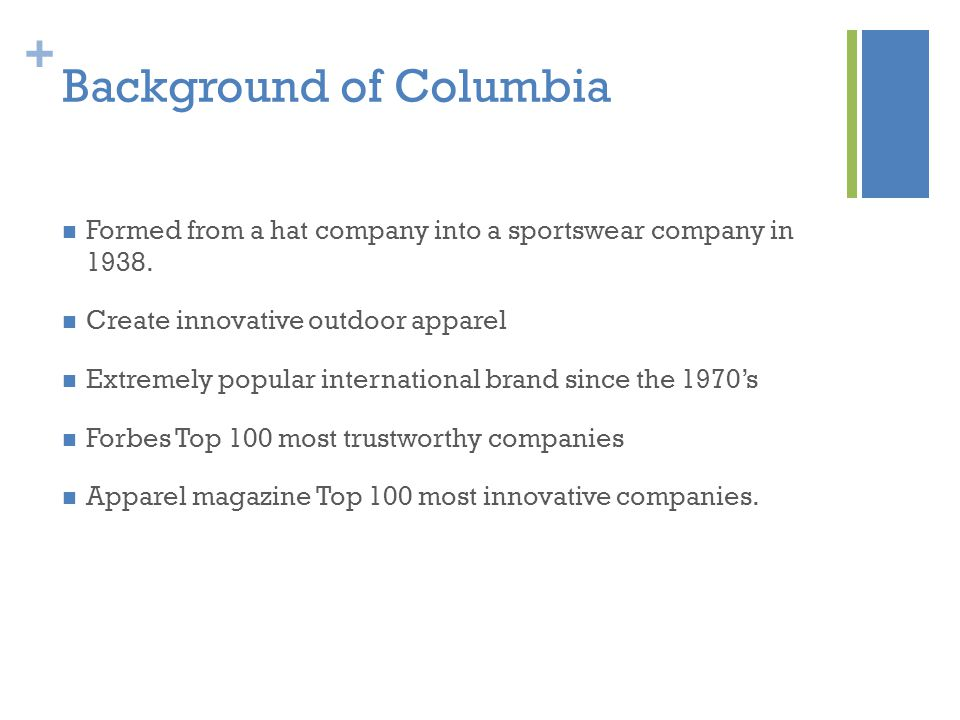 + Background of Columbia Formed from a hat company into a sportswear company in 1938.
