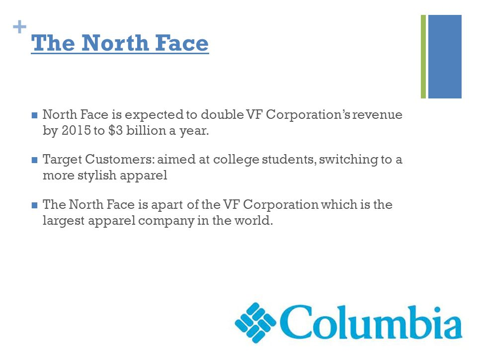 + The North Face North Face is expected to double VF Corporation's revenue by 2015 to $3 billion a year.