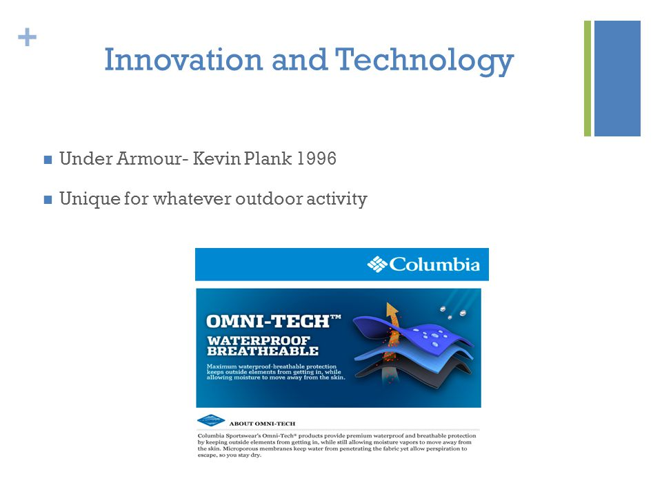 + Innovation and Technology Under Armour- Kevin Plank 1996 Unique for whatever outdoor activity