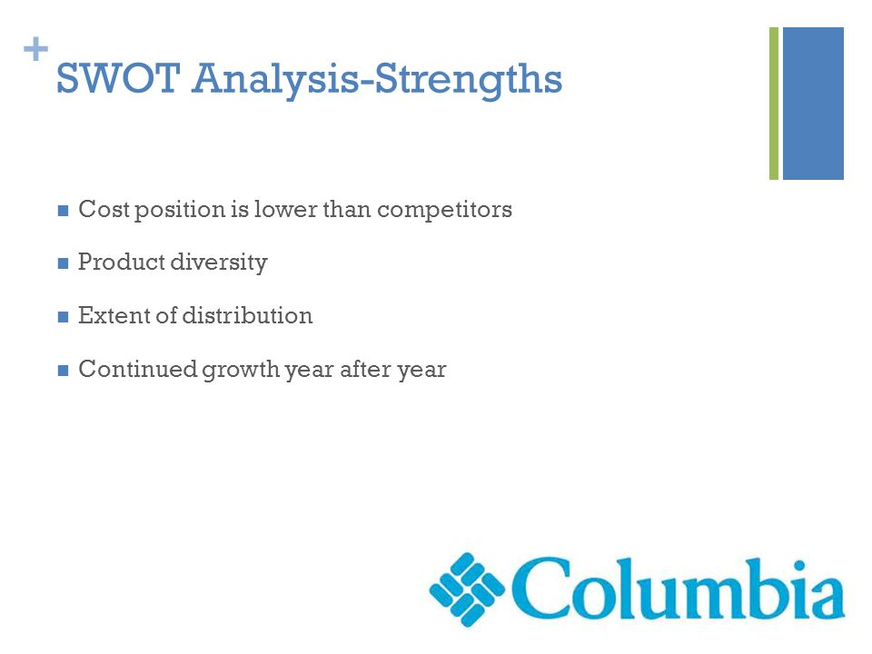 + SWOT Analysis-Strengths Cost position is lower than competitors Product diversity Extent of distribution Continued growth year after year