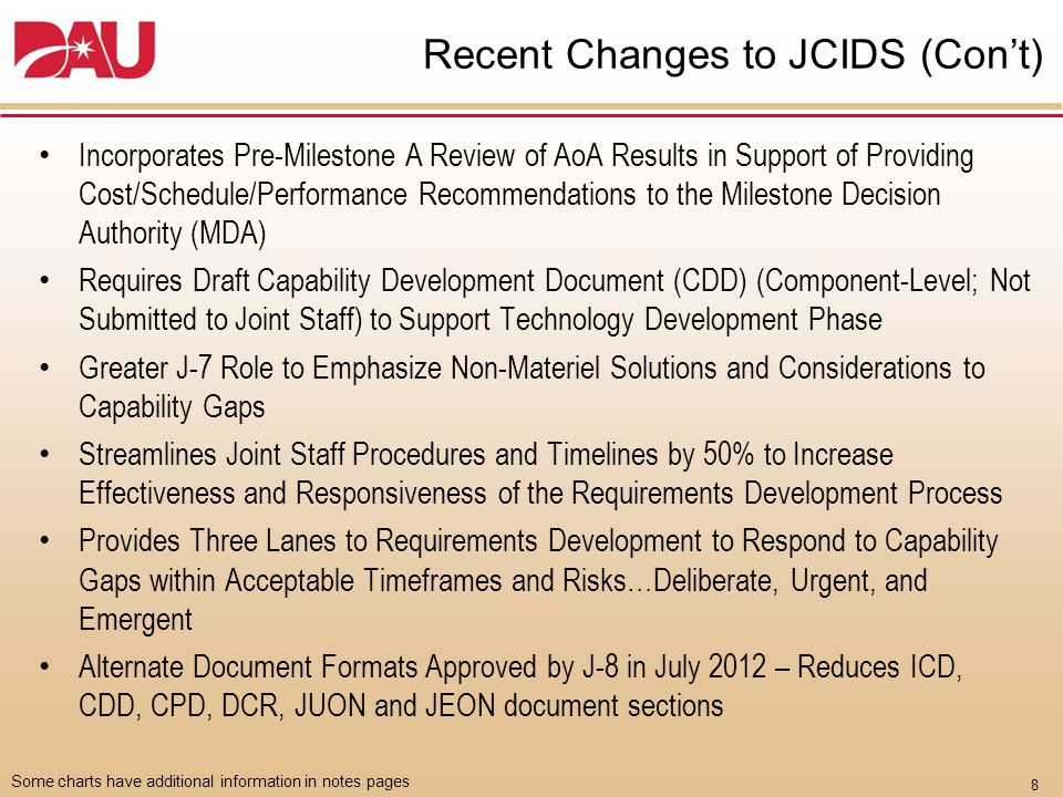 8 Some charts have additional information in notes pages Recent Changes to JCIDS (Con't) Incorporates Pre-Milestone A Review of AoA Results in Support of Providing Cost/Schedule/Performance Recommendations to the Milestone Decision Authority (MDA) Requires Draft Capability Development Document (CDD) (Component-Level; Not Submitted to Joint Staff) to Support Technology Development Phase Greater J-7 Role to Emphasize Non-Materiel Solutions and Considerations to Capability Gaps Streamlines Joint Staff Procedures and Timelines by 50% to Increase Effectiveness and Responsiveness of the Requirements Development Process Provides Three Lanes to Requirements Development to Respond to Capability Gaps within Acceptable Timeframes and Risks…Deliberate, Urgent, and Emergent Alternate Document Formats Approved by J-8 in July 2012 – Reduces ICD, CDD, CPD, DCR, JUON and JEON document sections