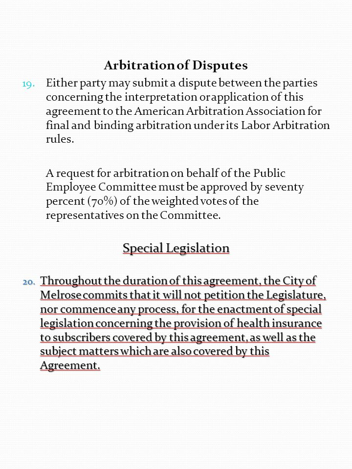 Arbitration of Disputes 19.