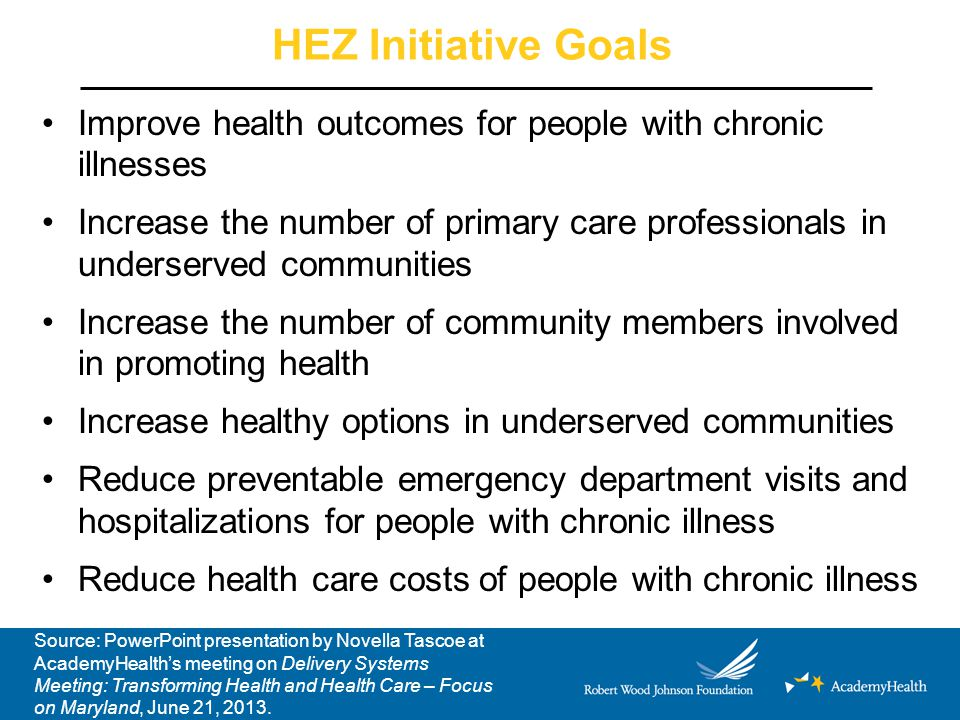 HEZ Initiative Goals Improve health outcomes for people with chronic illnesses Increase the number of primary care professionals in underserved communities Increase the number of community members involved in promoting health Increase healthy options in underserved communities Reduce preventable emergency department visits and hospitalizations for people with chronic illness Reduce health care costs of people with chronic illness Source: PowerPoint presentation by Novella Tascoe at AcademyHealth's meeting on Delivery Systems Meeting: Transforming Health and Health Care – Focus on Maryland, June 21, 2013.